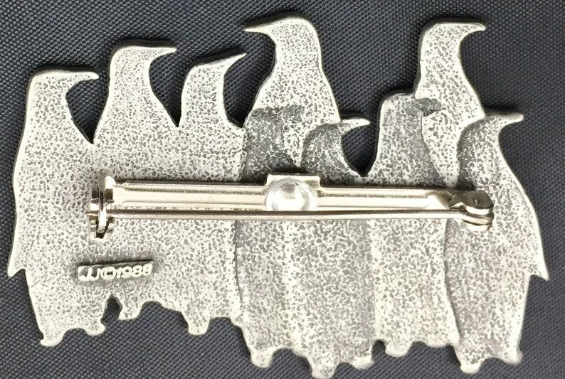 Vintage JJ Pewter Penquins Pin Brooch signed  1988