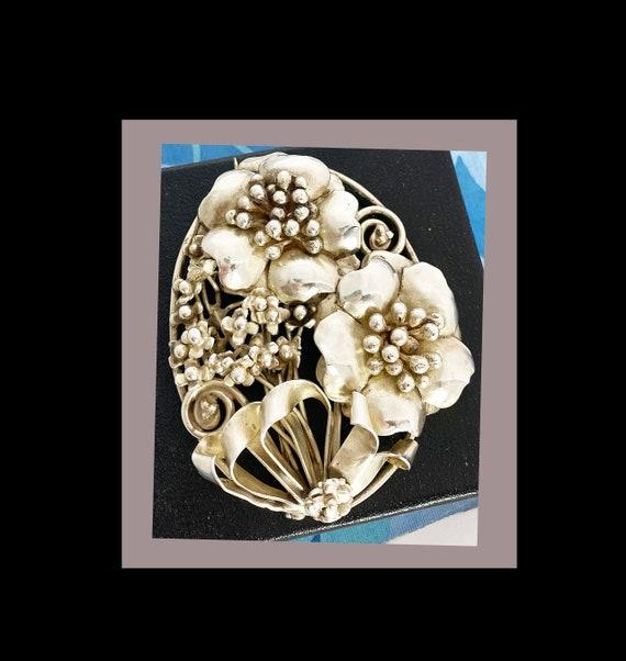 Hobe Large Floral Brooch Sterling Silver Signed Vi
