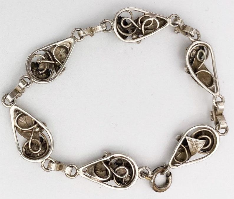Hobe Sterling Floral Panel Link Bracelet Vintage Signed