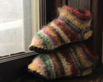 Wool Felted Slippers, Variegated Stripes, Little Kid Size 2.5 (Sole length 21cm)