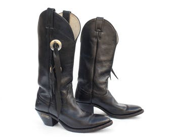7 M | Women's Black Leather Motorcycle Boots w/ Tassel Sides by Chippewa for Harley Davidson