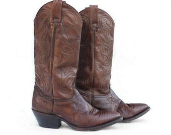 6 M | Women's Dan Post Redwood Brown Lizard Skin Boots Exotic Cowboy Boots
