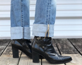 8-8.5 | Vintage 1990's David Bitton Buffalo Shoes Black Leather Buckle Strap Booties with Tall Heels