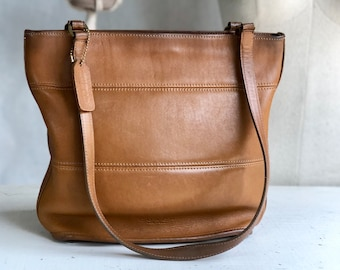 COACH 9098 Tribeca Brown Leather Tote Bag