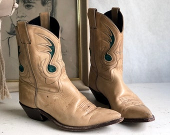 7 M | ACME Shorty Western Boots in Teal & Tan with Music Note Inlay