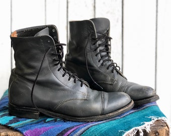 9 | Distressed Leather Lace Up Roper Riding Boots