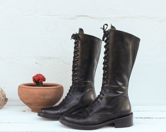 3 UK | 5 US | Women's Tall Lace Up Black Leather Boots with Block Heels 90's Grunge