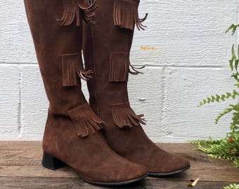 sz 8 | 1960's Vintage Brown Suede Leather Fringe MOD Moccasin Boots d
