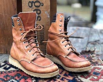 6 (Women's) 4 (Boys) | Vintage Work Boots 1960's Boys Moc Toe Lace Up Farm Boots