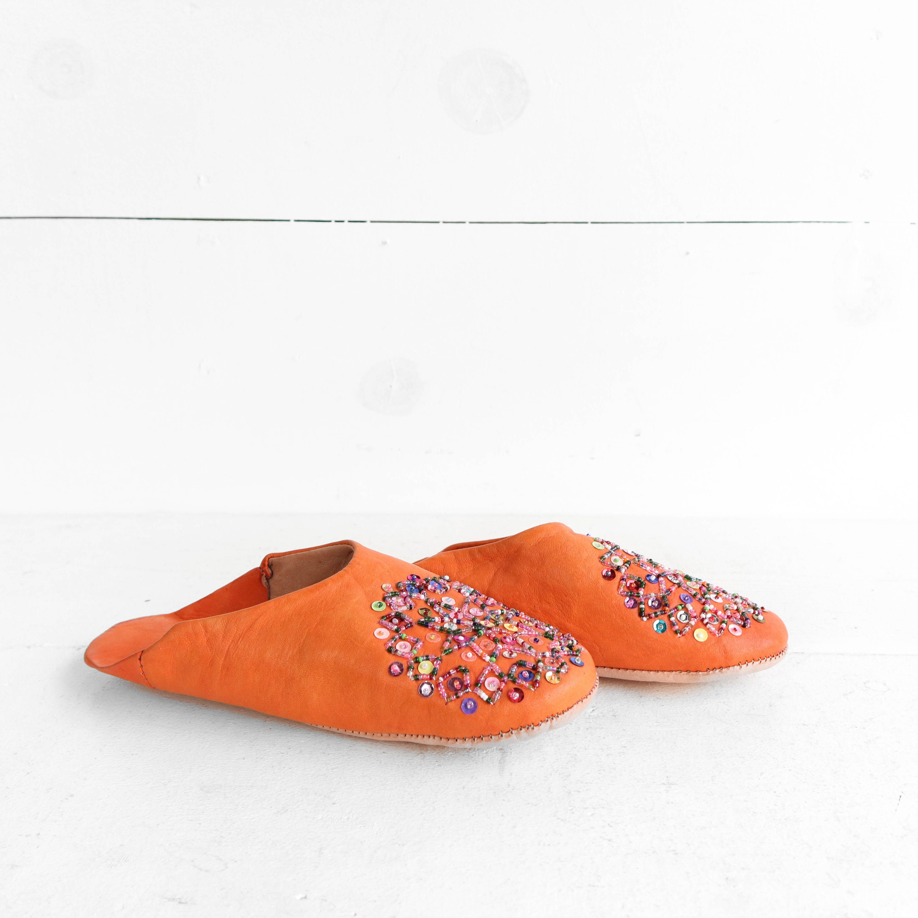 1600b0d7ad586 Beaded Orange Leather Babouche Slippers size 9