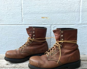 7 1/2 D | Vintage Red Wing Boots 1960's Steel Toe Lace Up Work Boots