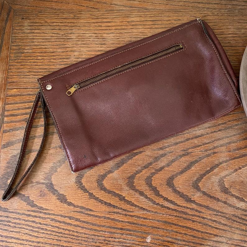 Vintage Brown Leather Envelope Clutch