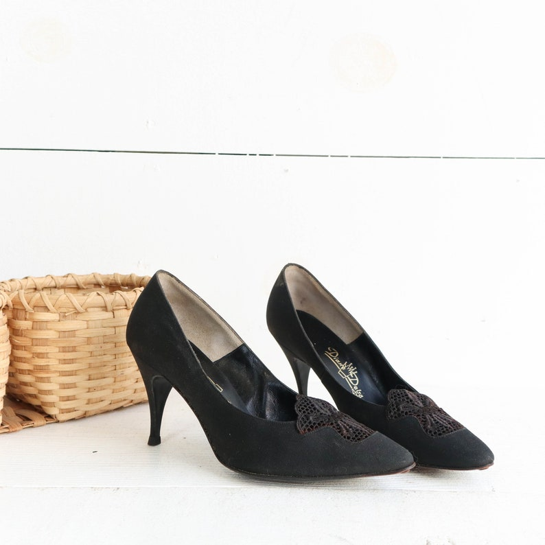 1906ec06d19cc 1960's Black Lace Heels by Diane Debs size 7 1/2 B