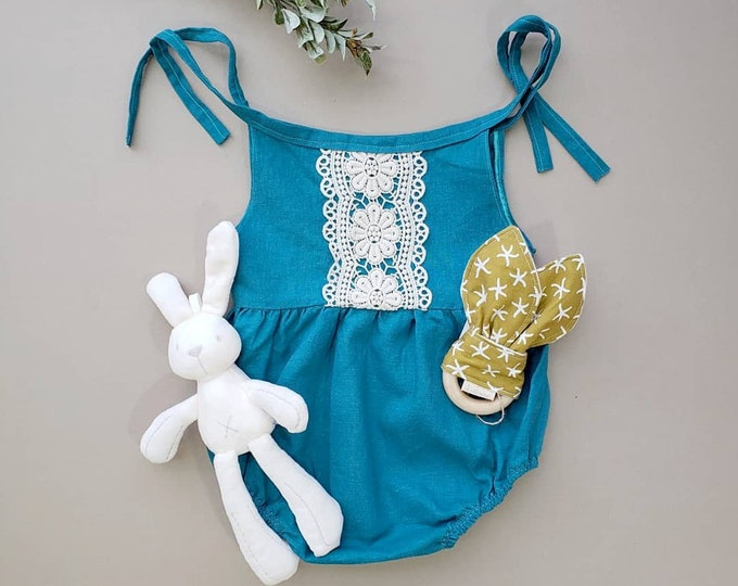 Baby Romper, Linen, Baby Tie Romper, Spring Outfit, Teal, Gift for Girl, Toddler Girl Outfit, Boho Baby Clothes, Organic, Crochet, Blue