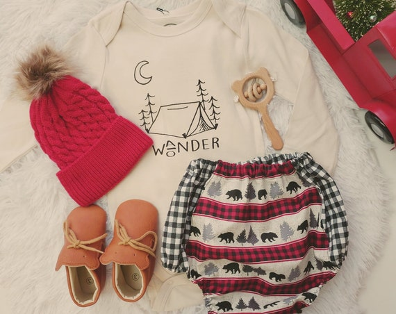 Ready to ship, Boho Baby Boy, Plaid, Check, Bloomers, Toddler Boy, Bloomer Shorts, Woodland, Bear, Lumber Jack, Winter, Birthday Outfit