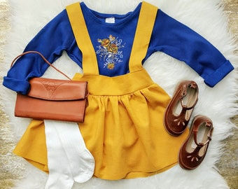 Fiona Linen Girls Suspender Skirt, High Waist Toddler Skirt, Toddler Skirt with Suspenders, Baby Skirt, Mustard Yellow, Spring Outfit