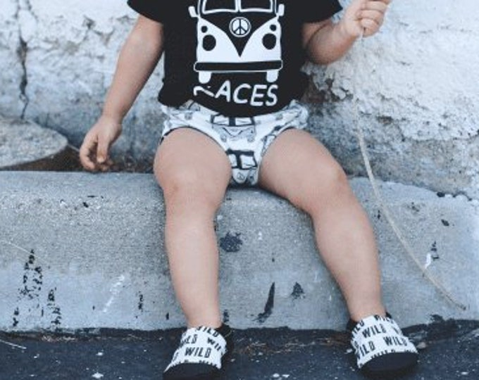 Black and White Wild Print Baby Girl Booties