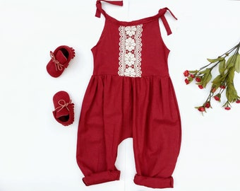 Baby Romper, Linen Baby Tie Romper, Winter Outfit, Burgundy Red, Gift for Girl, Toddler Girl Outfit, Jumpsuit, Boho Baby Clothes, Organic