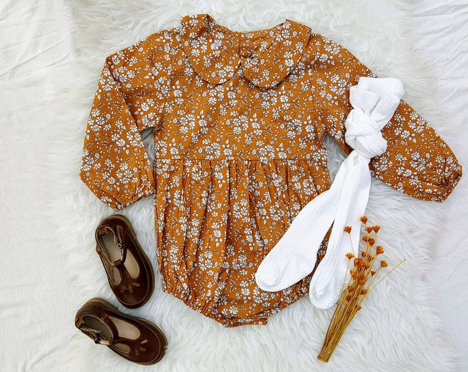Ready to ship, Baby Girl, Romper, Mustard Yellow, Long Sleeve, Floral, Boho, Peter Pan Collar, Playsuit, Toddler Girl Outfit, Winter
