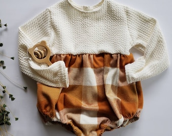 Plaid, Cable Knit, Romper, Baby Girl, Burnt Orange, Mustard Yellow, Fall Outfit, Rustic, Holiday Outfit, Boho Baby, Play suit, Nordic, Autum