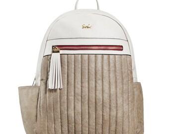 Grey Vegan Leather Backpack Diaper Bag