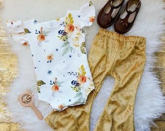 Flutter Sleeve Leotard, Baby Girl Bodysuit, Boho Toddler Romper, Organic Knit, Watercolor, Fall Outfit, Baby Girl Romper, Baby Shower Gift