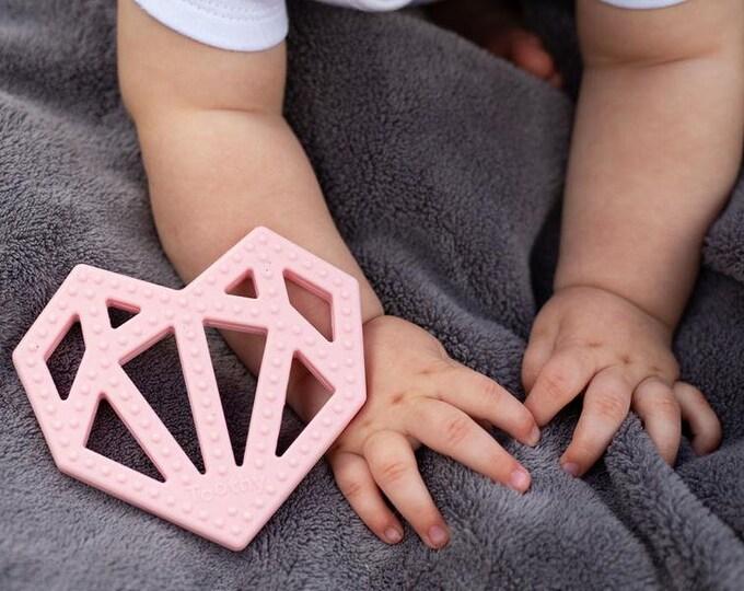Geometric Heart Teether Pink