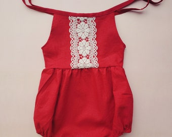 Baby Romper, Linen, Baby Tie Romper, Spring Outfit, Burgundy Red, Gift for Girl, Toddler Girl Outfit, Boho Baby Clothes, Organic, Crochet