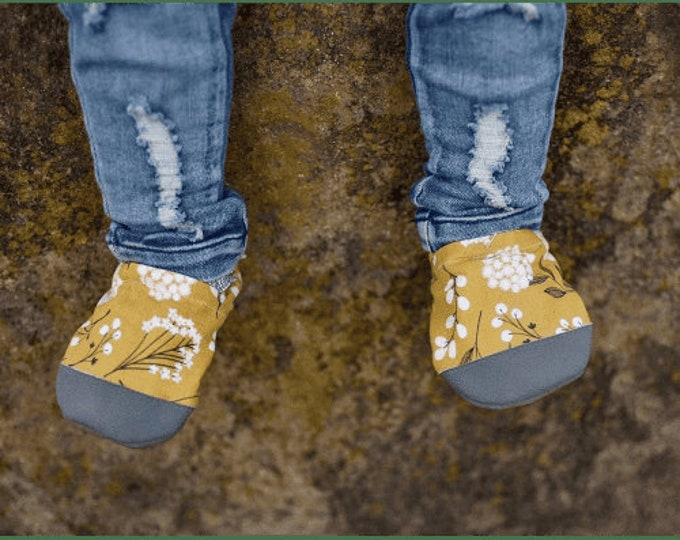 Mustard Floral Baby Girl Booties