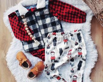 Lumberjack Baby Boy Leggings, Red Plaid, Organic Cotton Knit, First Birthday, Cake Smash, Toddler, Cloth Diaper Friendly, Harem Pants