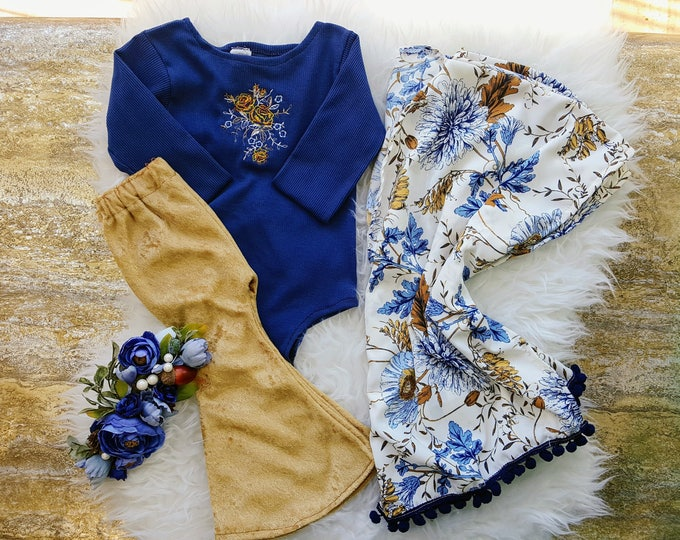 Baby Girl Kimono, Girls Cardigan, Blue and Gold Cover up, Pom Pom Kimono, Toddler,  Fall Outfit, Bithday Outfit, Boho Clothing, Autumn,