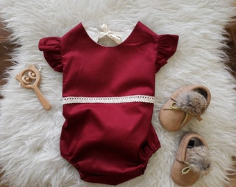Baby Girl Romper, Burgundy Outfit, Vintage Boho Romper, Organic Cotton, Bubble Romper, Baby Shower Gift, Cake Smash, Winter, Red, Birthday