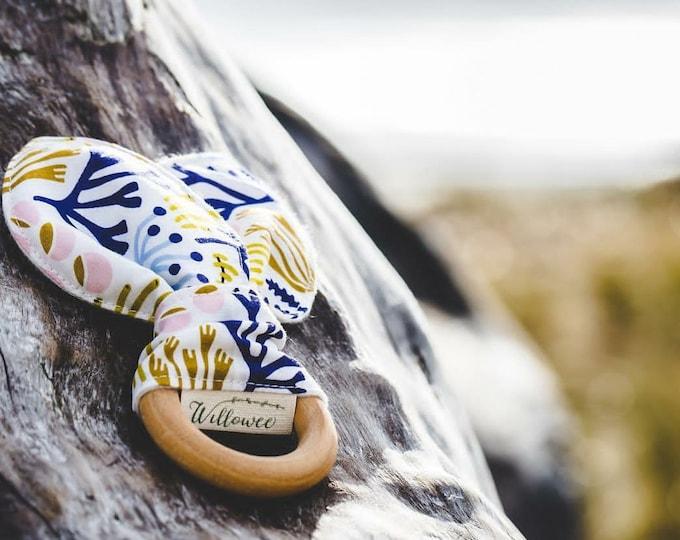 Ocean Print Natural Wood Teething Ring