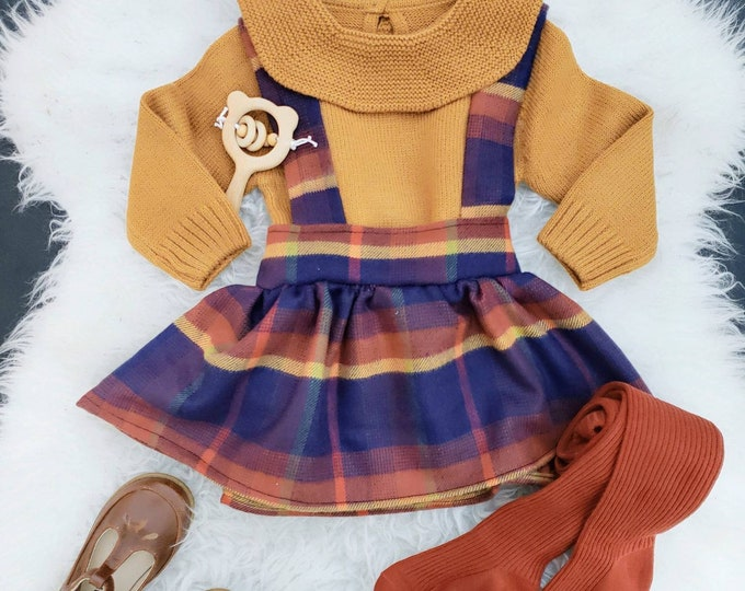 Plaid, Baby Girl, Suspender Skirt, High Waist, Toddler, Blue, Orange, Yellow, Fall Outfit, Christmas, Rustic, Holiday Outfit, Boho Baby,