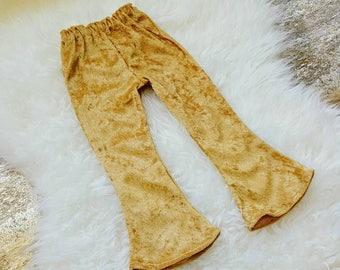 Girl Bell Bottoms, Gold Velvet, Boho Pants, Toddler Pants,  Baby Girl, Flare Leg, Bell Bottom, Fall Outfit, Crushed Velvet, Spring Outfit