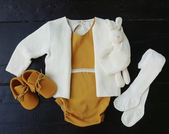 Baby Girl Romper, Mustard Yellow Outfit, Vintage Boho Romper, Organic Cotton, Bubble Romper, Baby Shower Gift, Cake Smash, Fall, Winter