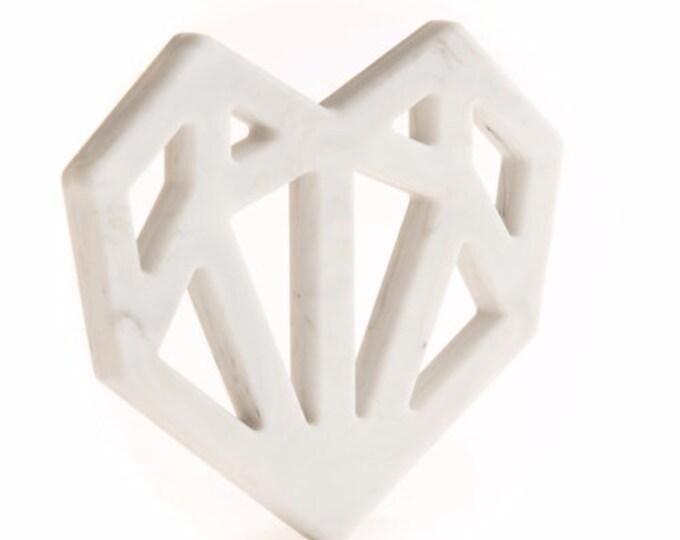 Geometric Heart Teether Marble