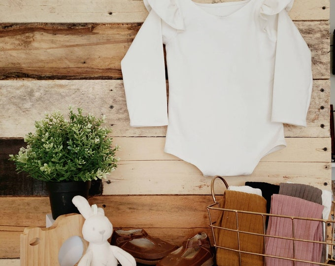 Cream Organic Cotton Knit Flutter Long Sleeve Leotard, Baby Girl, Toddler Girl, Boho, Fall, Holiday Outfit, First Birthday, Photography Prop