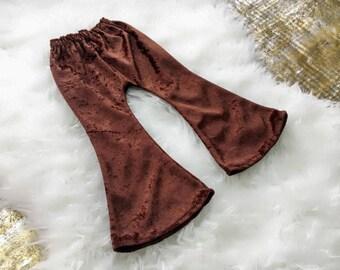 Girl Bell Bottoms, Brown Velvet, Boho Pants, Toddler Pants, Baby Girl, Flare Leg, Bell Bottom, Fall Outfit, Crushed Velvet, Leggings, Winter