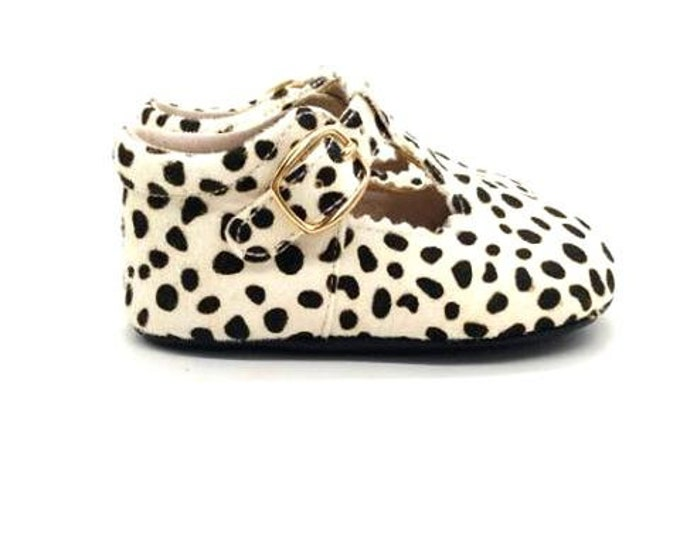 Leopard Print Cowhide Leather Baby Girl Mary Jane's
