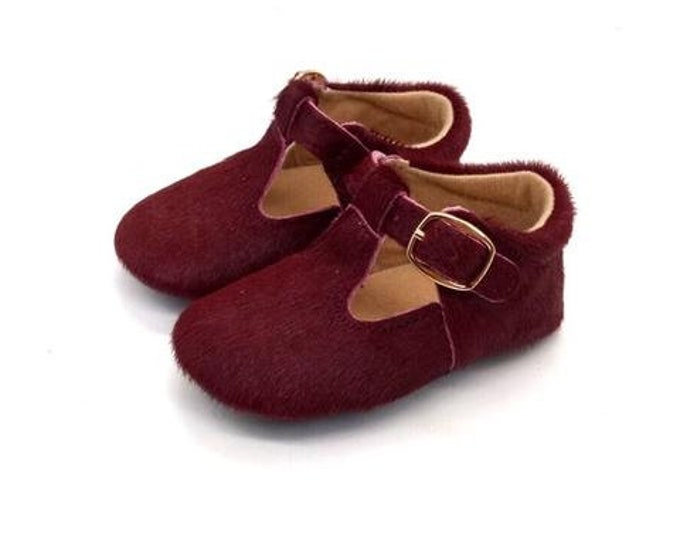 Burgundy Cowhide Leather Baby Girl Mary Jane's