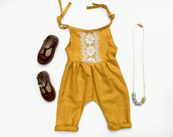 Baby Romper, Linen, Spring Outfit, Mustard Yellow, Baby Shower Gift, Toddler Girl, Jumpsuit, Boho Baby Clothes, Organic, Playsuit, Harem