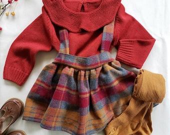 Plaid Girls Suspender Skirt, High Waist Toddler Skirt, Toddler Skirt with Suspenders, Baby Skirt, Mustard Yellow, Fall Outfit, Autumn, Rust