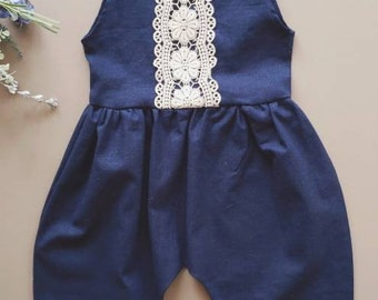 Baby Romper, Linen Baby Tie Romper, Spring Outfit, Navy Blue, Gift for Girl, Toddler Girl Outfit, Jumpsuit, Boho Baby Clothes, Organic