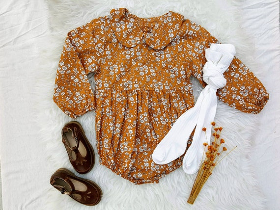 Baby Girl Mustard Yellow Long Sleeve Floral Boho Peter Pan Collar Romper Playsuit, Bubble Romper, Toddler Girl Outfit, Back To School, Fall