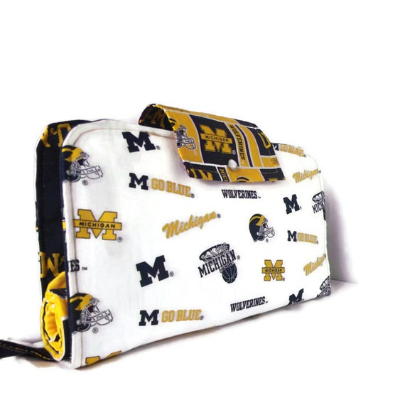 Diaper Clutch With Changing Pad And Wipes Case, University of Michigan Wolverines, Three Piece Set, Baby Shower Gift, Baby Boy, Girl, Sports
