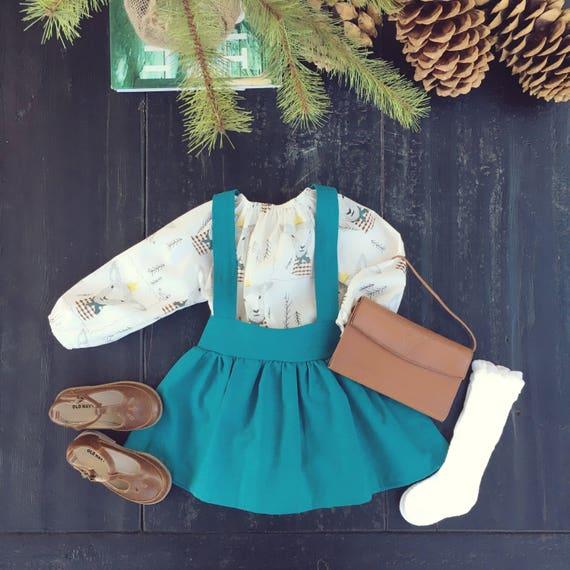 Teal Fiona Linen High Waist Suspender Skirt