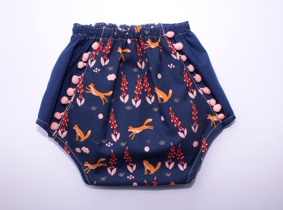 Boho Baby Girl Pom Pom Bloomers, Toddler Girl Pom Pom Bloomer Shorts, Organic Diaper Cover