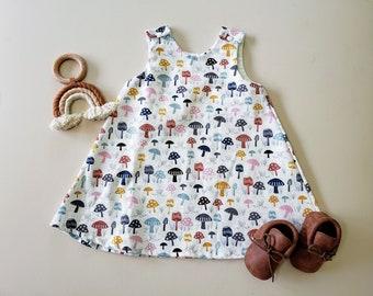 Baby Girl Dress, Toddler Girl, Mushroom Print, Birthday Outfit, Girl's Dress, Autumn, Fall, A Line, Boho Chic, Mustard Yellow, Sleeveless