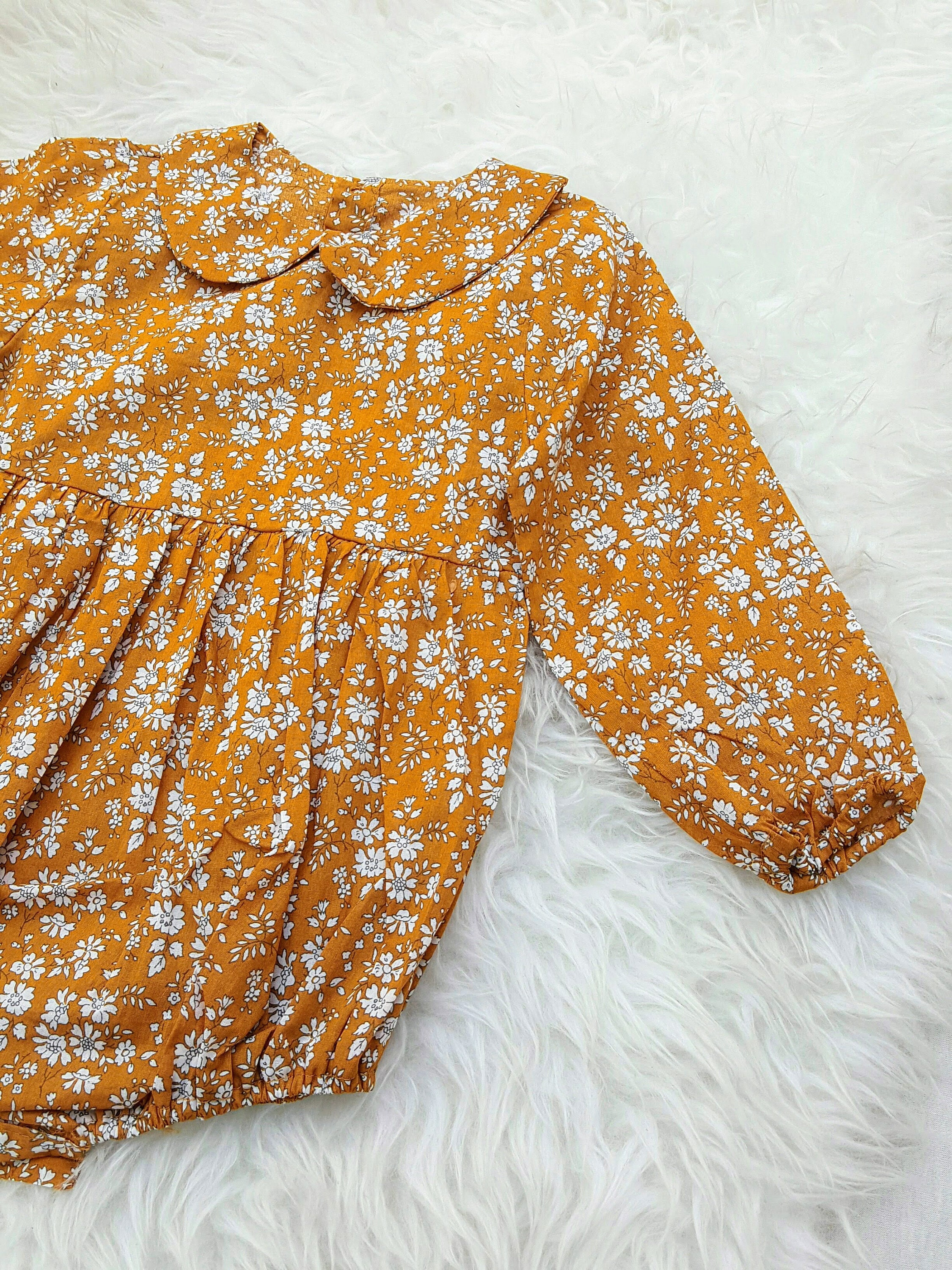340c59073 Ready to ship, Baby Girl, Romper, Mustard Yellow, Long Sleeve ...